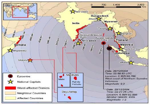 図1: 津波によって影響を受けた12の国