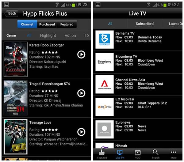 図1:HyppTVの携帯端末用アプリケーションのユーザーエクスぺリエンス(UX)キャプチャ(画面)
