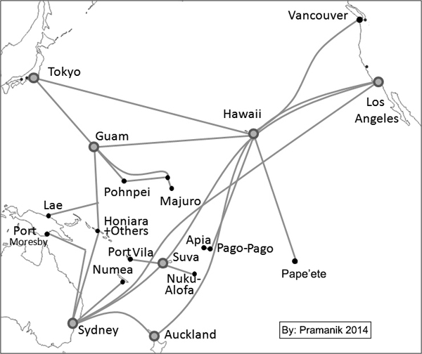 Figure2: Major Submarine Fiber Optic Cable network in Oceania