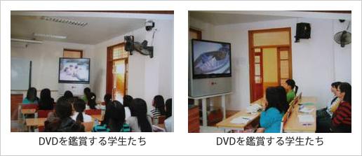 DVDを鑑賞する学生たち