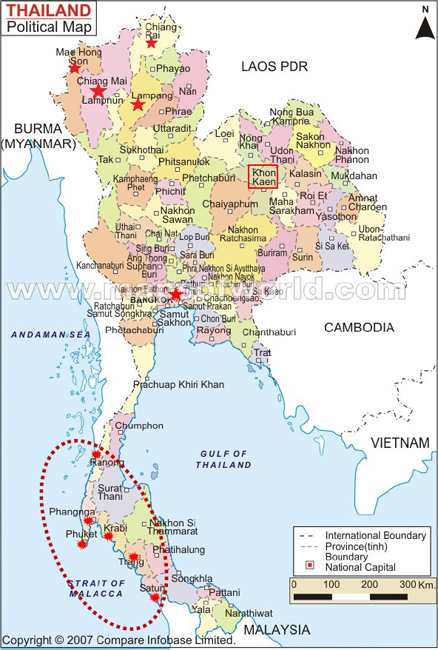 Figure 3: Areas of Thailand Affected by the 2004 Tsunami.